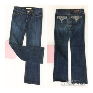Flying Monkey Jeans Sequined Flap Pockets Boot Cut